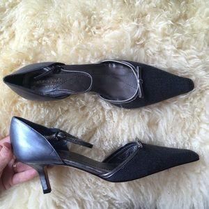 kate spade ♠️ Pointy Toe Heels Wool & Leather Heel